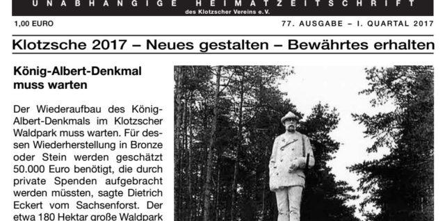 Titel der Ausgabe 77 des Klotzscher Heideblatts